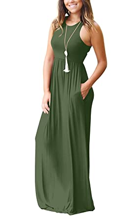 Image result for GRECERELLE Women's Sleeveless Racerback Loose Plain Maxi Dresses Casual Long Dresses with Pockets | The Best Bump-Friendly Amazon Finds featured Alabama blogger My Life Well Loved #maternity #pregnancy