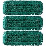 "TEBEST Mop Floor Cleaning Green Slot Pocket Dust Mop Spun Loop Microfiber Dry Dust Mop With Slot Pocket Backing-3 Pack (24"", Green)"