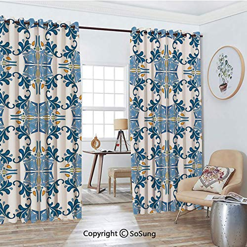 (Thermal Insulated Blackout Patio Door Drapery,Roman Tile Mosaic Design with Famous Artful Eastern Inspired Image Room Divider Curtains,2 Panel Set,100