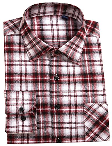 - DOKKIA Men's Button Down Buffalo Plaid Checked Long Sleeve Flannel Shirts (Brown, Small)