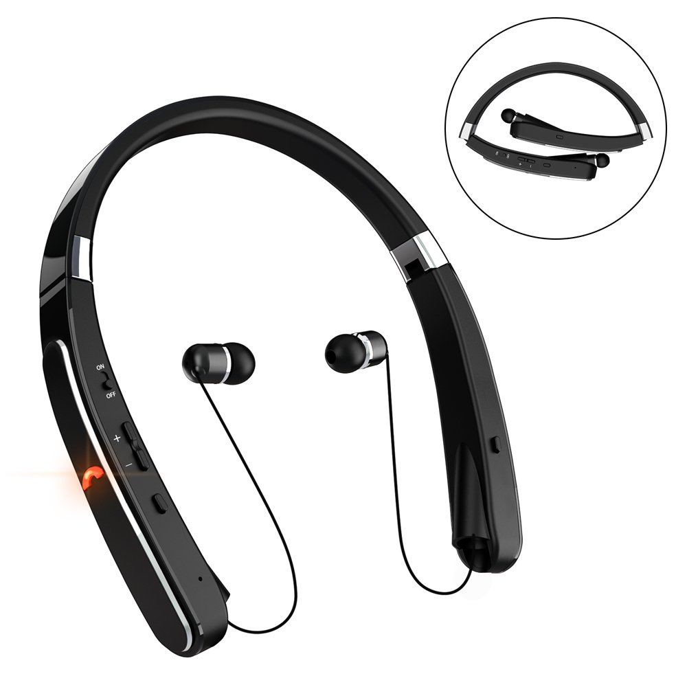 Retractable Bluetooth Headset, Wireless Headphones [30 Hours Playtime] with Neckband& Foldable Design for iPhone X/8/7 Plus Samsung Galaxy S8 Note 8 Other Bluetooth Enabled Devices (Black)