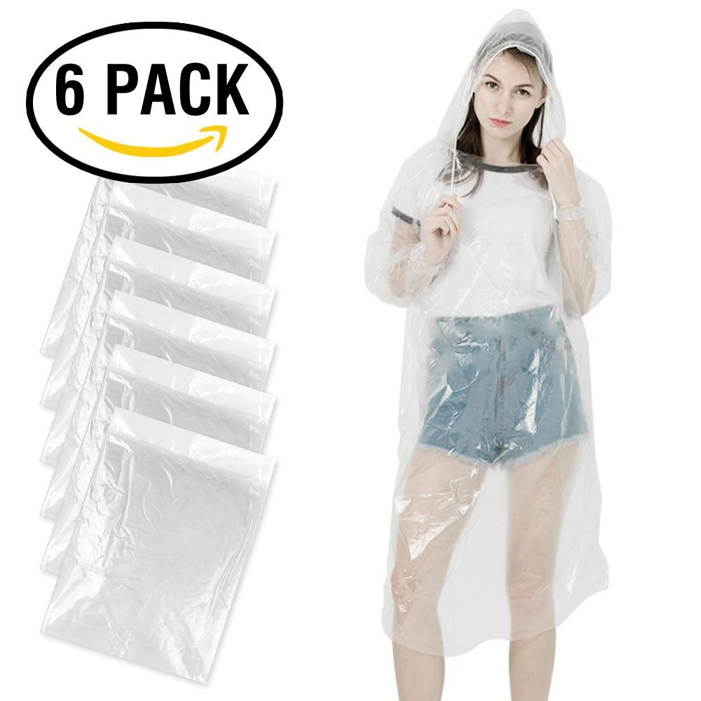 KKTICK Disposable Poncho, Emergency Rain Poncho for Men Women Disposable Raincoat Super Waterproof for Rainy Outdoors (One Size Fit All) - Individually Wrapped 6 Pack