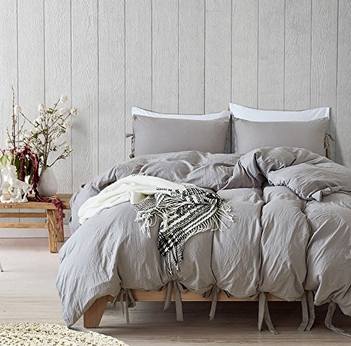 SANMADROLA Luxury Bow Duvet Cover Set with Solid Bowknot Ties Design 3 Piece Bedding Set Light Gray King