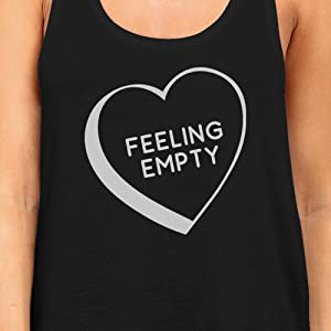 365 Printing Feeling Empty Heart Women Black Sleeveless Shirt Cute Graphic Tanks