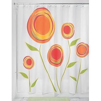 InterDesign Marigold Fabric Shower Curtain Orange Red