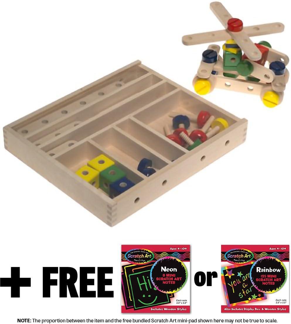 Construction Set in a Box + FREE Melissa & Doug Scratch Art Mini-Pad Bundle (04909)