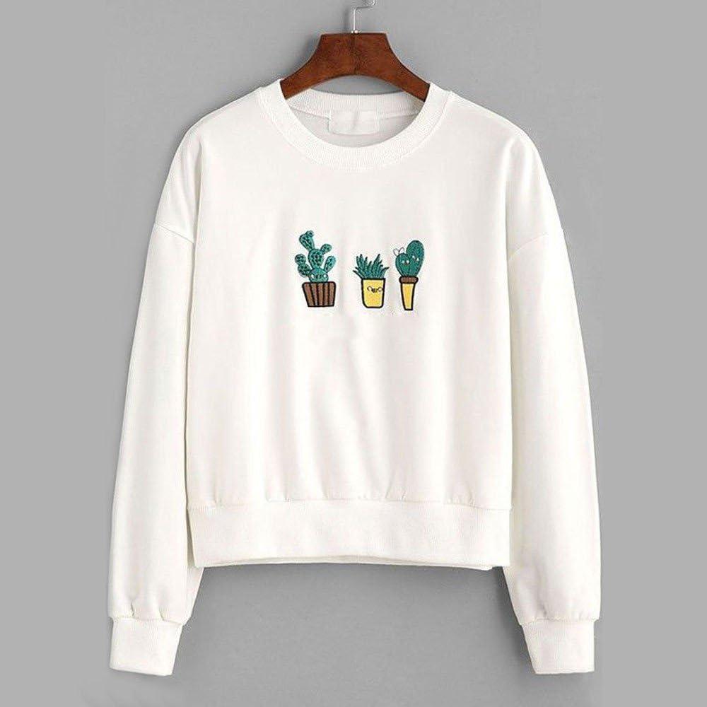 feiXIANG suéter de Las Mujeres Cactus de Las Mujeres Impreso de Manga Larga Sudadera Ocasional Camisa de Las señoras Camisa de Cactus suéter Blinda Mujer chiffonblusas para Mujer Elegantes: Amazon.es: Ropa y