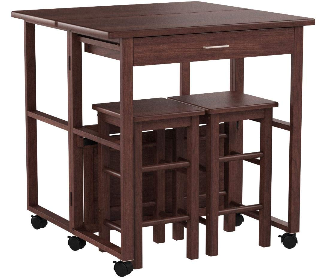 Winsome Wood 3-Pc Space Saver Set in Walnut Finish by Winsome Wood