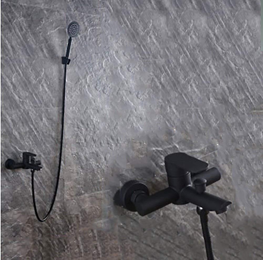シャワー304ステンレス鋼レトロクリエイティブ壁掛け8インチトップスプレー滝浴室の蛇口ハンドシャワーホット&コールドウォーターシングルハンドルコンバータブラック1.5メートルh B07R6T139N