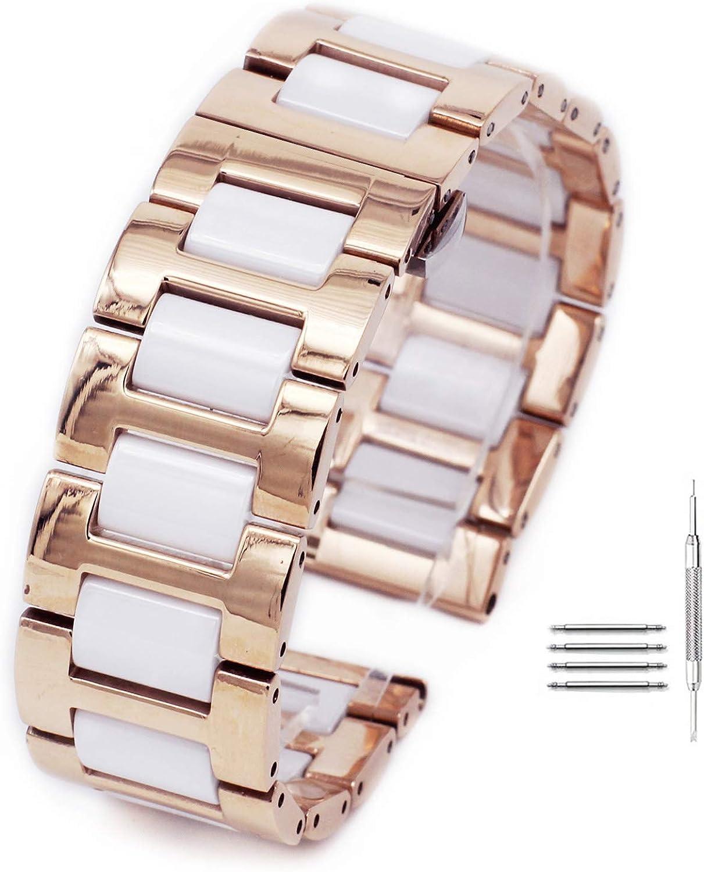 Correa de Reloj de Acero Inoxidable con Hebilla de Mariposa de 14 mm a 22 mm de Ceramics