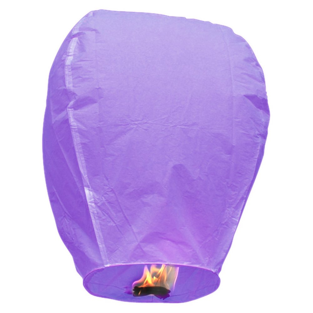 Sky Lantern - Chinese Paper Flying Wish Candle (Purple/Pack of 20)