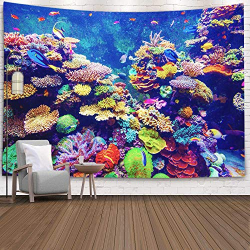 Tooperue Large Tapestry, Dormitory Tapestry Room Decoration Outdoor 80X60 Inch Coral Reef Tropical Fish in Sunlight Aquarium Art Tapestry Beach Blanket Camping Tapestry,Green Green