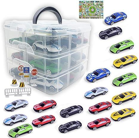 Nany - Caja de almacenamiento portátil de aleación para coche con tres pisos para aparcamiento, juguete de garaje pequeño o supletorio (incluye 18 coches): Amazon.es: Bebé