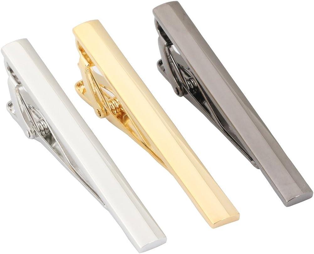 GWD Mens Fashion Tie Bar Clip 2.1 Inch, Silver-Tone, Black, rose gold ,Gold-tone