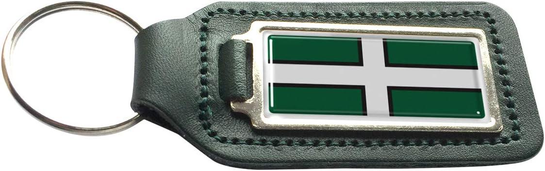 Devon County Flag Green Leather Rectangle Keyring