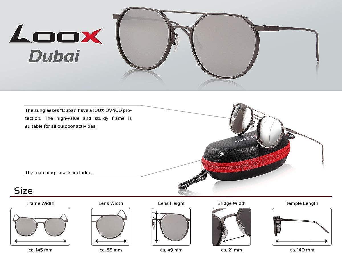 con Custodia Loox Occhiali da Sole Vintage Lenti Rotonde a Specchio Montatura di Metallo Retro Donna Dubai Uomo