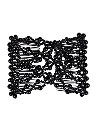 Lovef 1 PCS Combs Stretchable Double Combs ,Popular Hand Made Beadbed Rhinestone Hairpin Hair Styling Comb (Black)