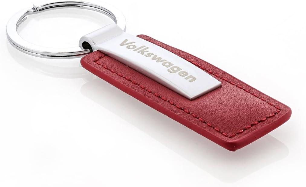 Volkswagen Synthetic Leather /& Metal Rectangular Key Chain Wordmark Brown