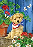 Toland Home Garden Patriotic Puppy 28 x 40 Inch Decorative Cute Summer Dog July 4 USA Flower House Flag