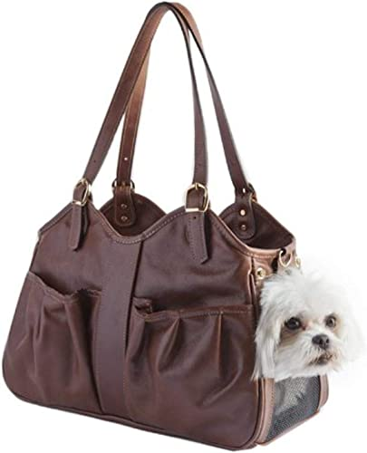 Petote Metro Couture Leather Dog Carrier, Toffee, Small