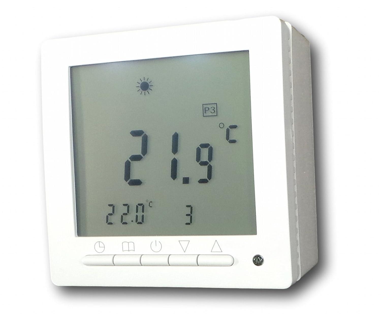 Wochenprogramm gro/ßes Display SM-PC/® wei/ße Hintergrundbeleuchtung #ap894 Digital Thermostat /´Aufputz/´ f/ür Fussbodenheizung max 16A