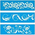 """Set of 3 - 11"""" x 3.3"""" (28cm x 8cm) Reusable Flexible Plastic Stencil for Graphical Design Airbrush Decorating Wall Furniture Fabric Decorations Drawing Drafting Template - Leafy Leaves Pattern"""