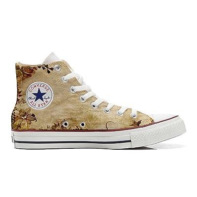 Converse All Star Hi chaussures coutume mixte adulte (produit artisanalPersonnalisé) Old Texture