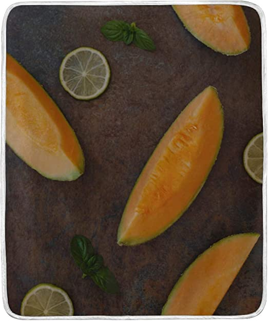 Amazon Com Throw Blanket Cantaloupe Melon Slices Lime On Rustic Soft Blanket Warm Plush Blanket For Sofa Chair Bed Office Gift Best Friend Women Men 50 X60 Soft Blankets For Girls Kitchen Dining A cup of fresh cantaloupe has just 60 calories and provides a cup of fresh cantaloupe has about 60 calories which come primarily from carbohydrates. amazon com