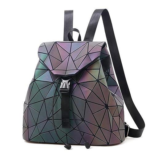 VHVCX Mochila de tela escocesa mujeres geométricas de lentejuelas Mujer para mochilas Bolsa adolescente Bagpack holográfica escuela con cordón, ...