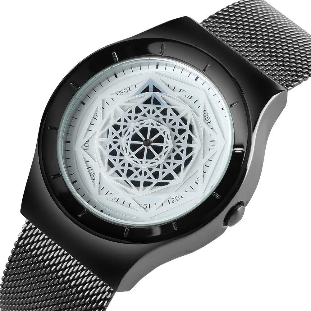 Amazon.com: Turntable Geek Watch for Men Women, No Pointer Gradient Color Dial, Cool Unisex Vortex Spiral Watches (Black&White): Watches