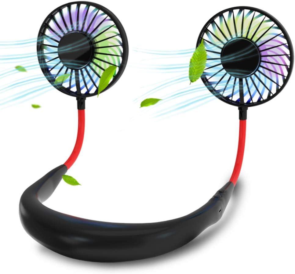 Neck Hanging Fans,Themejc New LED Luminous Sports Hanging Neck Fan Portable Mini Neck Fan Hands-Free Fan Earphone Design USB Fan (Black)