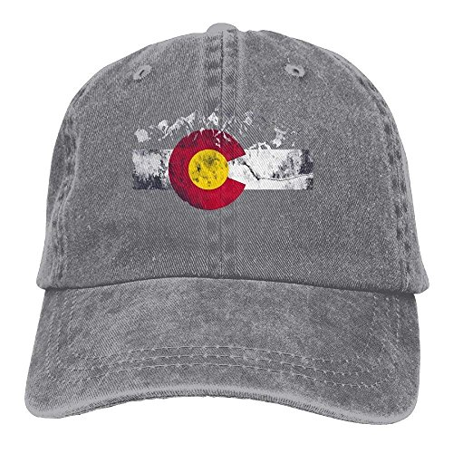 hanbaozhou Gorras béisbol Men's Or Women's Colorado Flag Moutain Denim Jeanet Baseball Hat Adjustable Street Rapper Hat