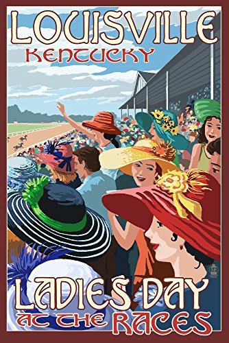 Louisville, Kentucky - Ladies Day at the Track Horse Racing (9x12 Collectible Art Print, Wall Decor Travel (Ky Derby Poster)
