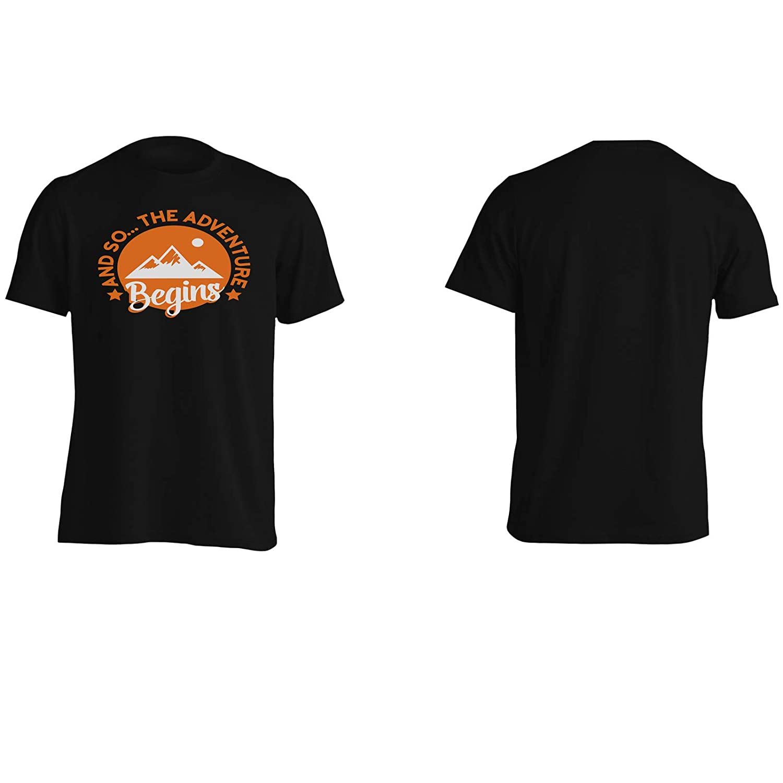 INNOGLEN and so The Adventure Begins Mountains Climbing Orange Mens T-Shirt Tee gg829m