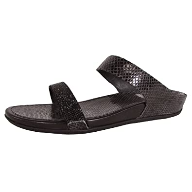 d8ea38fb7eb8 FitFlop Womens Banda Micro Crystal Snake Slide Sandals Black  Amazon.co.uk   Shoes   Bags