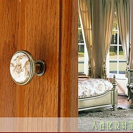Kawn 32mm Ceramic Cabinet Door Drawer Round Handle Pull Knob Marbling