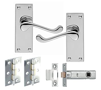 "2 1//2/"" Chrome Scroll Victorian Bathroom Lever Door Handles 64mm Lock /& Hinges"