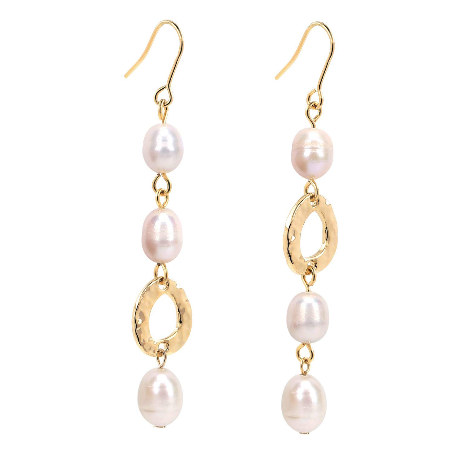 COZLANE Freshwater Pearl Drop Earrings Long Dangle Fish Hook with 14K Gold Plated Hammered Circle, Wedding Jewelry Gifts for Brides Bridesmaids