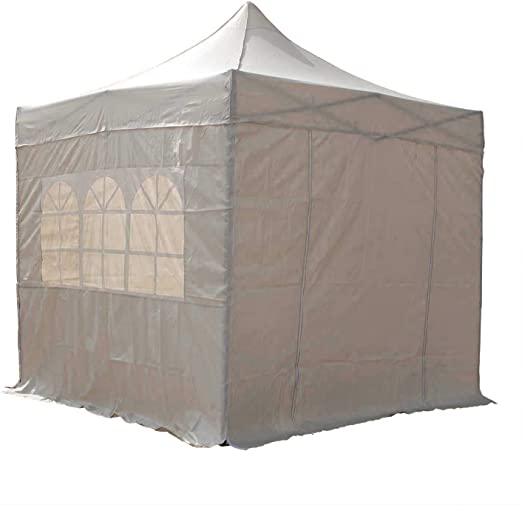 AirWave Gazebo - Pabellón impermeable emergente con 2 barras de viento y 4 bolsas de peso para las piernas, color beige, 2.5 x 2.5 m: Amazon.es: Jardín