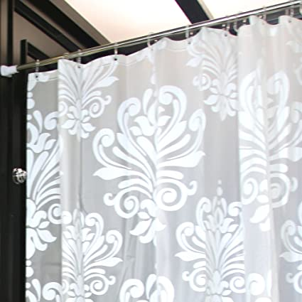 LynnWang Design 72x72 Inch PVC FREE Shower Curtain Or LinerWhite FloralWith 12