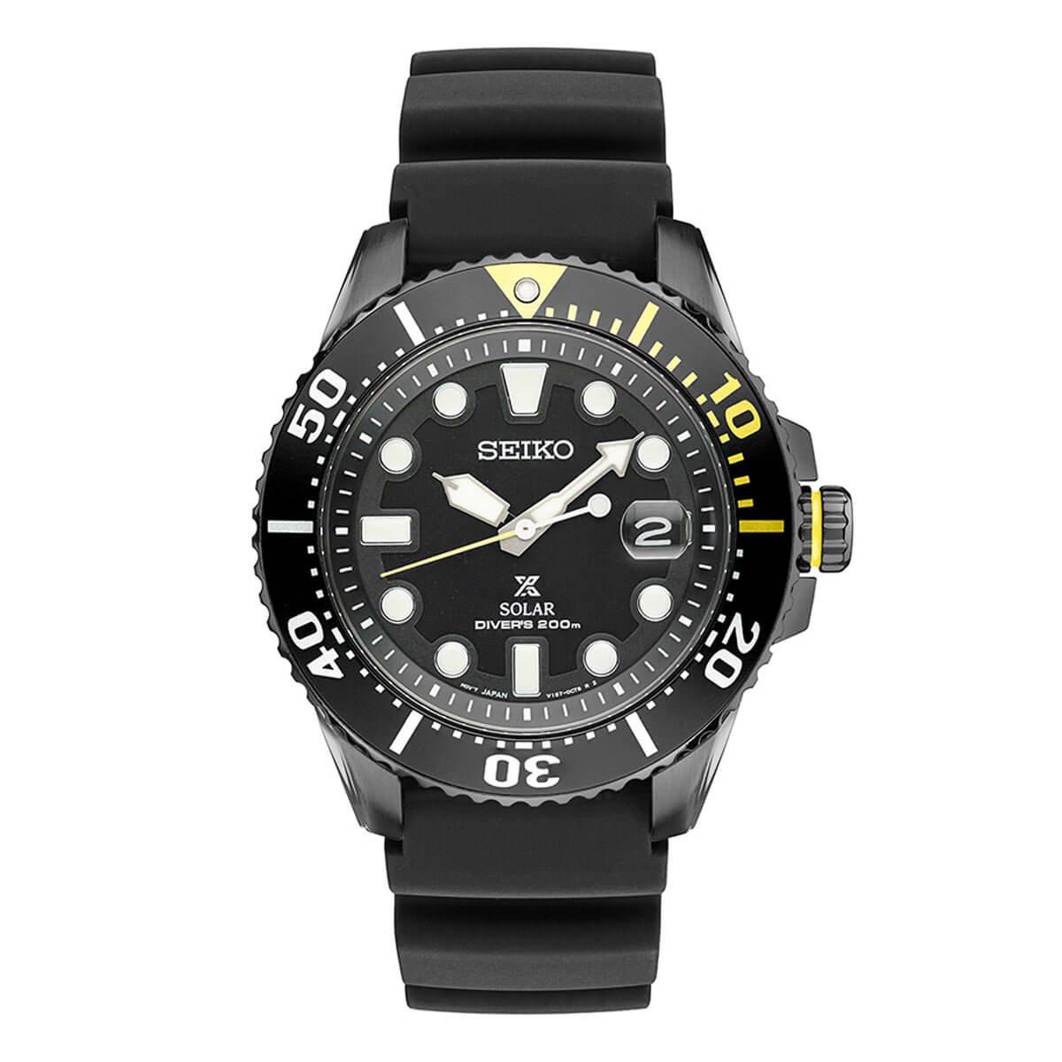 Seiko Prospex Divers Solar Mens Black Silicone Watch SNE441 by SEIKO
