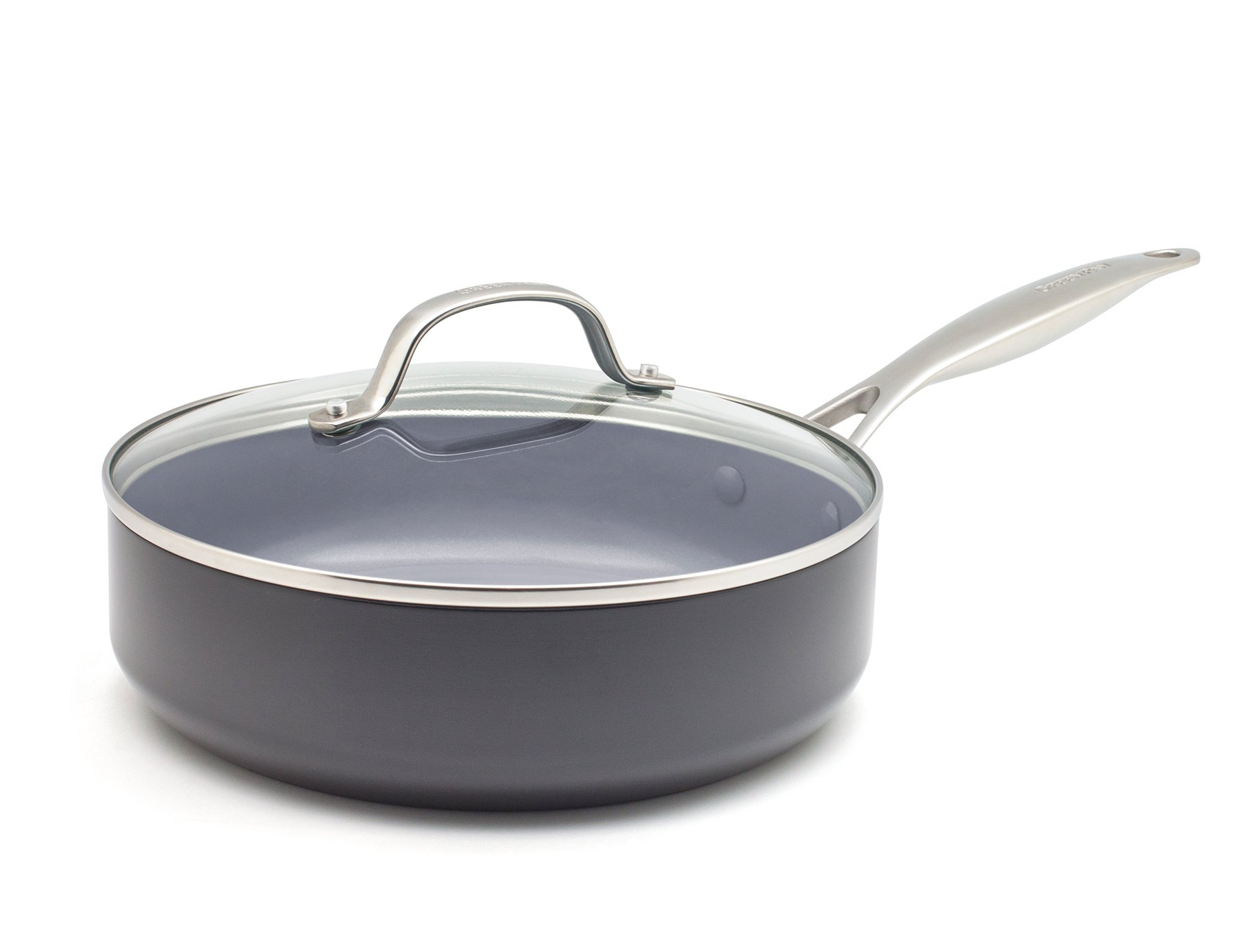 GreenPan CC000671-001 Valencia Pro Hard Anodized 100% Toxin-Free Healthy Ceramic Nonstick Metal Utensil/Dishwasher/Oven Safe Covered Sauté Pan, 4.5-Quart, Grey by GreenPan