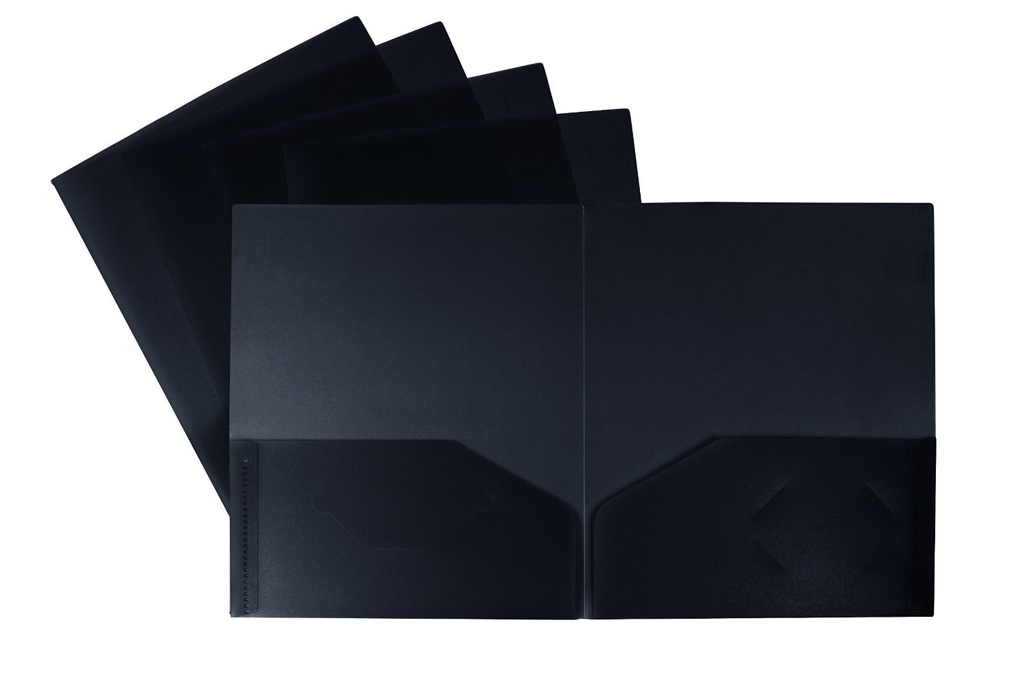 Generic Two-Pocket Folder, Recycled, Black, Case of 25