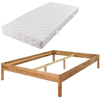 festnight marco de cama doble con colchón roble macizo 180 x 200 cm