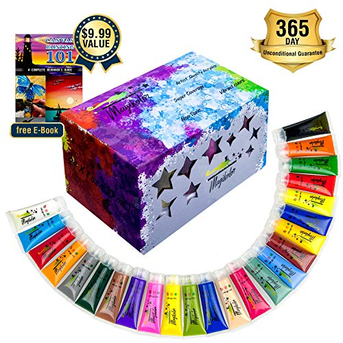 Acrylic Paint Set for Kids and Artists | 24 Colors Big Tubes 30mL | Rich Pigments, Premium Quality Paint Kit | Non-Toxic & Vibrant Colors for Canvas Wood & Fabric | Great Halloween Gift by Magikolor -