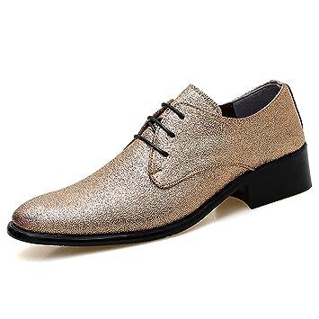 Best-choise Moda Masculina Oxford Personalidad Casual Colorido Elegante Hombres Low Top con Cordones Zapatos Formales Llamativo (Color : Gold, ...