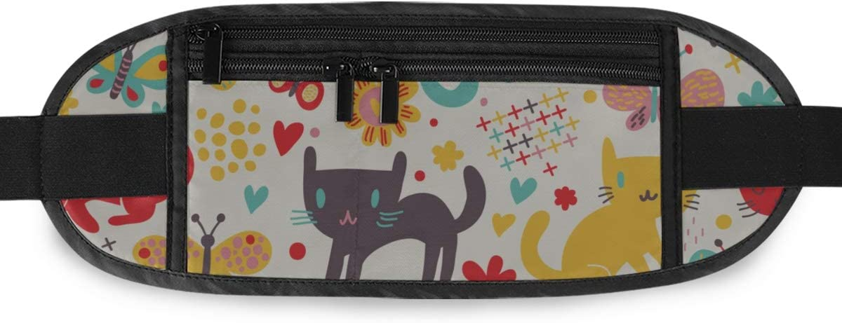 Cute Funny Cats Butterflies Running Lumbar Pack For Travel Outdoor Sports Walking Travel Waist Pack,travel Pocket With Adjustable Belt