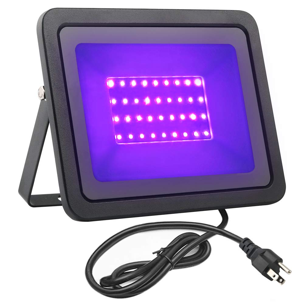 FAMURS 36W UV LED Black Light Flood Light with US Plug(5.9ft Cable), IP66 Waterproof, for Blacklight Party, Stage Lighting, Aquarium, Body Paint,Glow in The Dark, Fluorescent Poster, Neon Glow