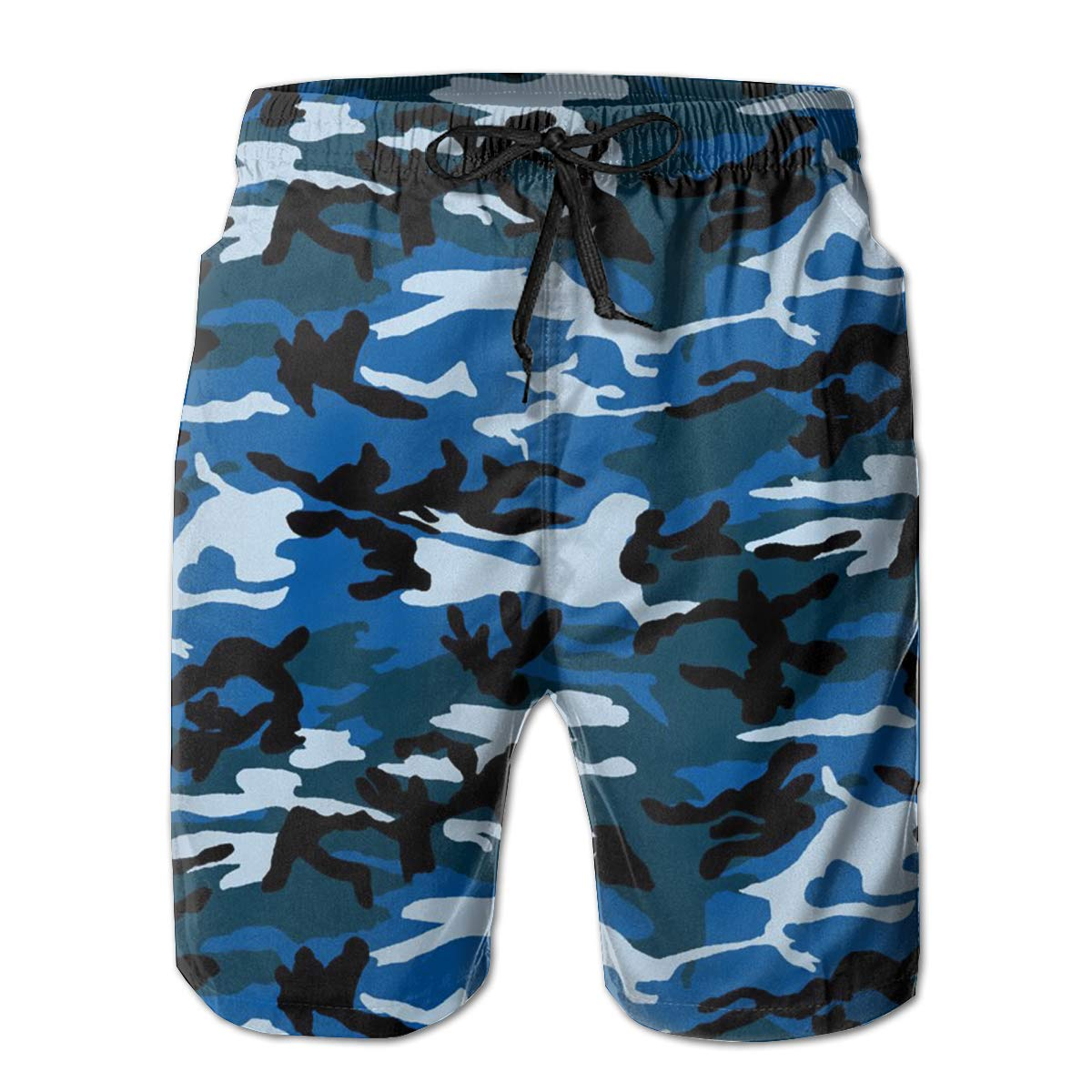 JF-X Navy Camouflage Mens Summer Beach Surf Board Shorts Quick Dry Swimming Trunks Casual Loose Sleep Short Pants