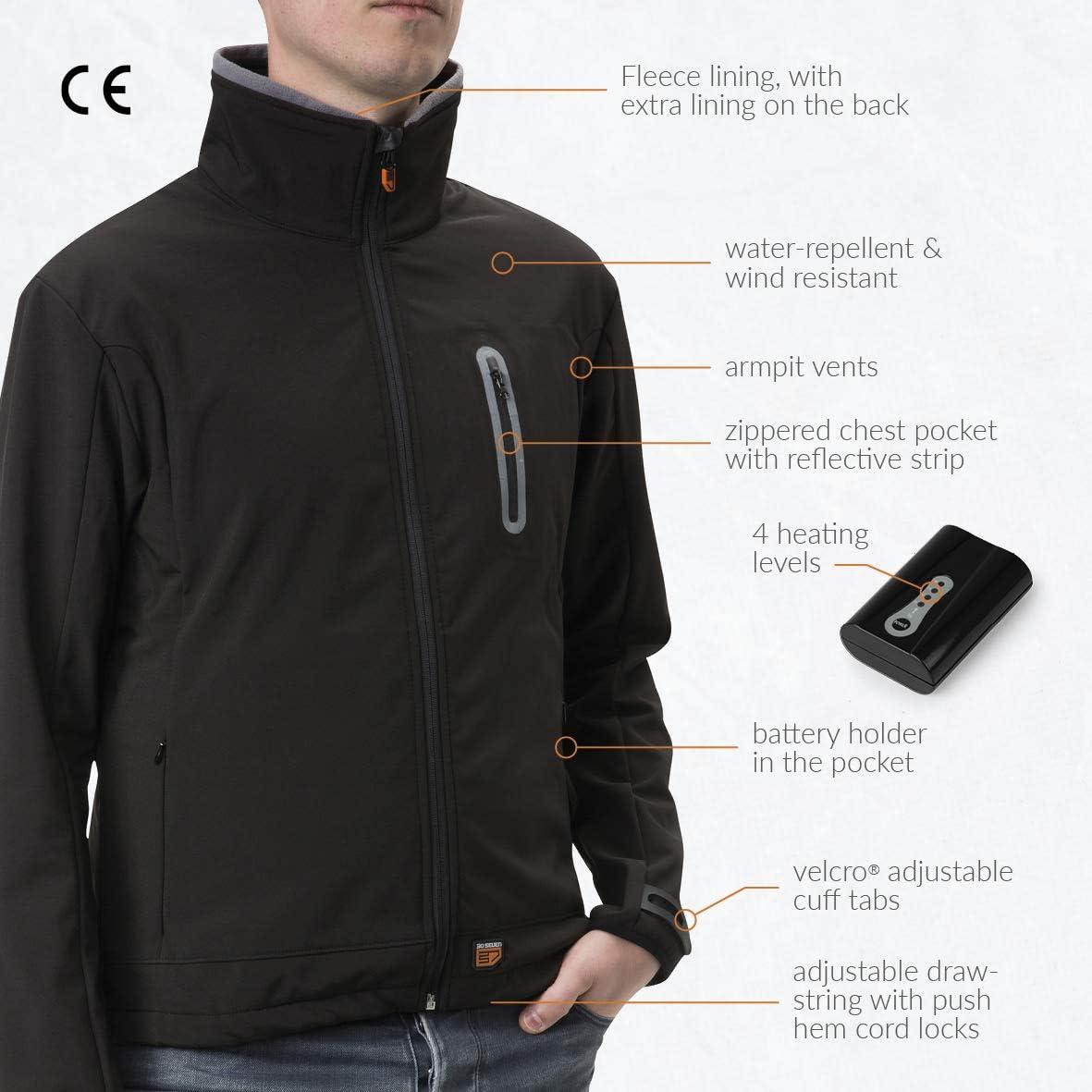 30seven beheizbare Softshelljacke f/ür Frauen Gr/ö/ßen S-XXL schwarz beheizte Jacke mit aufladbarem Akku